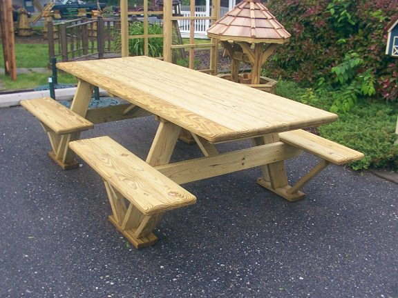 Wooden Split Bench Picnic Table Plans PDF Plans